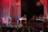 MOSCOW - APR 23: Jazz orchestra named after Oleg Lundstrem at Ball Crystal Turandot, dedicated to an