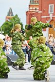 MOSCOW - MAY 27: Performance of pupils of Preobrazhensky Cadet Corps on Red Square during 8-th sport