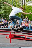 MOSCOW - MAY 12: Skateboarder performs at opening of skatepark in Culture and Recreation Park Sokolniki, May 12, 2012, Moscow, Russia. Skatepark in Sokolniki - pilot project of this format in Moscow.