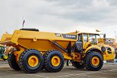 MOSCOW - MAY 29: Volvo A40F articulated truck at 13th International Specialized Exhibition of Constr