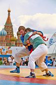 MOSCOW - MAY 27: Fight of participants of first All-Russian tournament on Russian traditional strugg