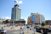 ISTANBUL - JUL 3: The tall building near the station (funicular) on the Taksim Square in Istanbul on