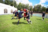 MOSCOW - JUNE 30: Scottish teams training at second stage of European championship on rugby-7 in spo