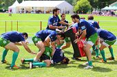 MOSCOW - JUNE 30: Rugby players from Portugal train on second stage of European championship on rugb