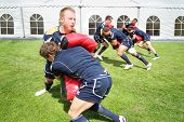 MOSCOW - JUNE 30: Athletes from Scotland train before second stage of European championship on rugby