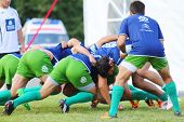 MOSCOW - JUNE 30: Rugby players from France fight for ball on second stage of European championship