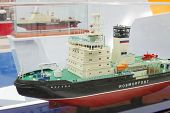 MOSCOW - MAY 23: Icebreaker Moskva model at Russia Marine Industry Conference 2012 in Gostiny Dvor,
