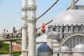 ISTANBUL - JULY 4: Suleymaniye Mosque  and Bosphorus Bridge in Miniaturk Museum, on July 4, 2012 in