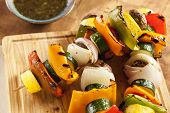 stock photo of onion  - Organic Grilled Vegetable shish Kebab with peppers mushrooms and onions - JPG