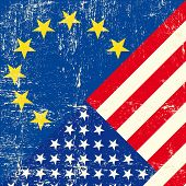 US and european grunge Flag. this flag represents the relationship  between european union and the u