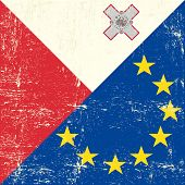 foto of malt  - Malted and european grunge Flag - JPG