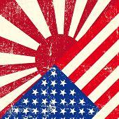 EUA e Japão grunge guerra bandeira.