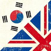 Постер, плакат: Гранж флаг Английский и Южной Кореи Этот флаг представляет связь между Великобритании и Южной