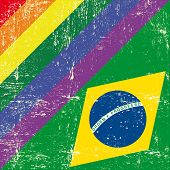 image of gay flag  - Brazil and gay grunge Flag - JPG
