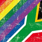 South africa and gay grunge Flag. Mixed grunge gay flag with south african flag.