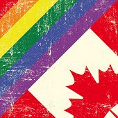 stock photo of gay flag  - canadian and gay grunge Flag - JPG
