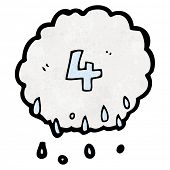cartoon raincloud with number 4