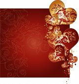 Golden And Red Hearts Background Vector