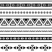 Aztekische seamless Pattern, tribal, black and white background