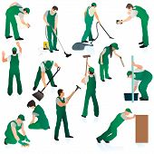 image of janitor  - Big set o thirteen professional cleaners in green uniform - JPG