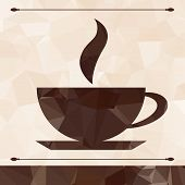 Abstract cup of coffee on a geometric background.