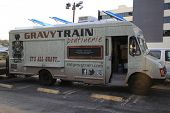 LOS ANGELES -APR 25: Gravy Train Food Truck in Hollywood serving fries and gravy on April 25, 2013 i