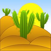 Drawn Green Cactuses In The Desert