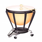 stock photo of timpani  - Music Instrument An Illustration of A Retro Style Classical Timpani or Kettle Drum on White Background - JPG