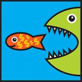 Big Fish Is Eating Small Fish With Dollar Signs