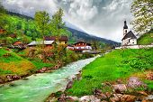 pictorial landscapes of Bavarian Alps, Ramsau village with old church