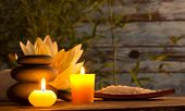 stock photo of flames  - Spa still life with aromatic candles - JPG