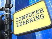 Education Concept. Waymark on Blue Background.