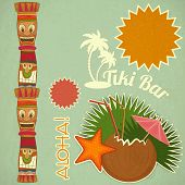 stock photo of tiki  - Vintage Hawaiian Tiki postcard  - JPG