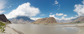 foto of skardu  - Indus River Panorama Karakorum Range near Skardu Pakistan - JPG