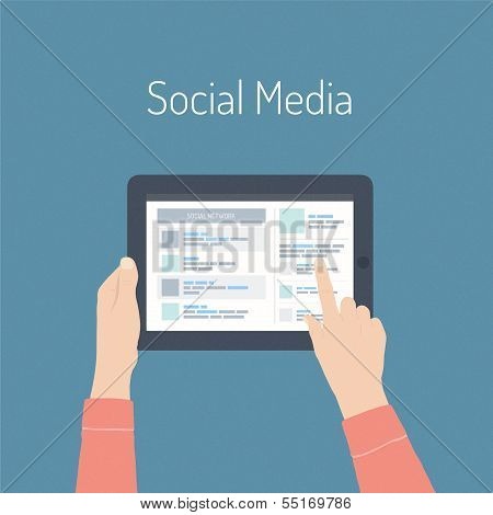 Social Media Flat Illustration Concept poster