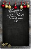 Christmas And New Year`s Restaurant Menu Wooden Blackboard Copy Space