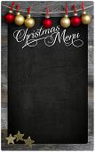 Christmas Restaurant Menu Wooden Blackboard Copy Space