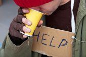 Homeless Man Drinkig Hot Tea