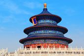 picture of emperor  - Temple of Heaven with blue sky in Beijing - JPG