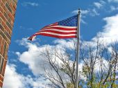 American Flag Flying Over Post Office