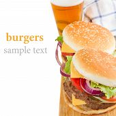 Two Burgers with beer