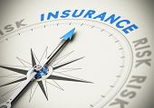 stock photo of risk  - Compass needle pointing the word insurance - JPG
