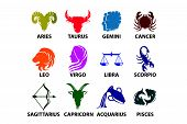 stock photo of sagittarius  - Set of astrological zodiac symbols - JPG