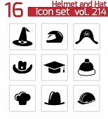 Vector black helmet and hat icons set