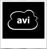 Instant Photo Frame With Cloud And Avi Word, Internet Concept