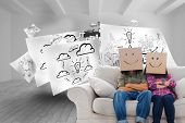 Composite image of silly employees with arms folded wearing boxes on their heads with smiley faces o