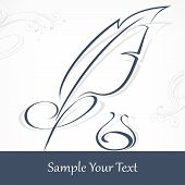 image of inkwells  - Quill pen and inkwell isolated on white and text vector illustration - JPG