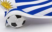 Uruguay Flag With Championship Soccer Ball