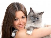 Young Woman Hold Ragdoll Cat Blue Eye And Smile