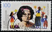 stamp printed in Germany shows Children´s Missionary Work in Germany portrait Auguste Sartorius